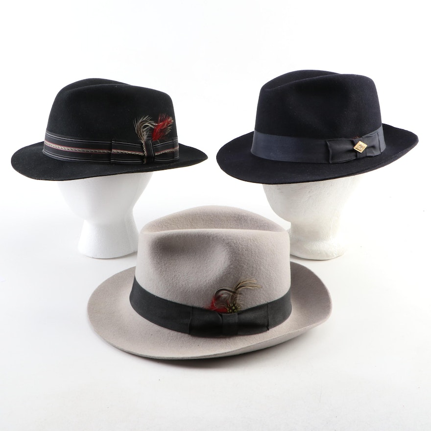 Men's Stacy Adams Cleveland and Chelsea Wool Felt Fedoras
