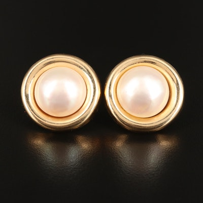 14K Pearl Mabé Button Earrings