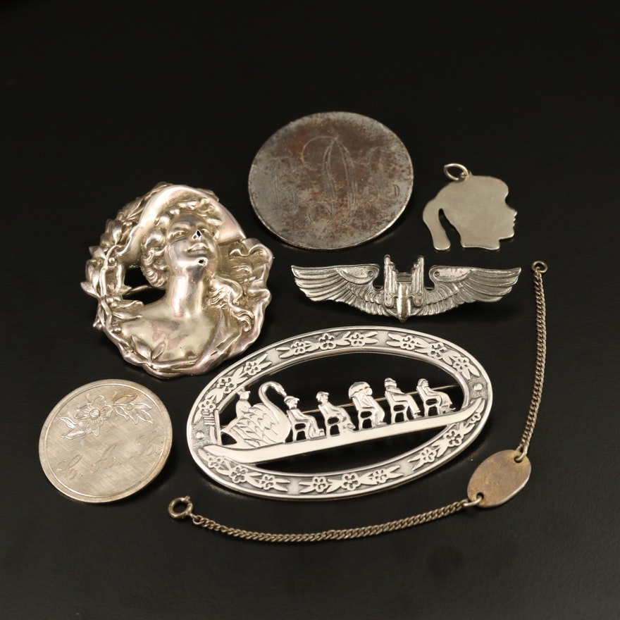 Vintage Sterling Silver Jewelry Featuring Art Nouveau Brooch