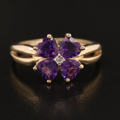 14K Amethyst and Diamond Flower Ring