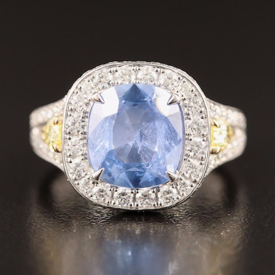 Charles Krypell 2.96 CT Sapphire and 1.81 CTW Diamond Ring with GIA Report