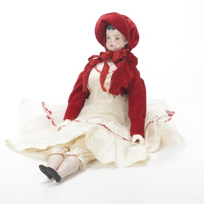 Hand Painted Porcelain Doll, Late 19th Century