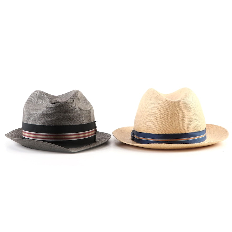 Men's Richman Brothers Straw Trilby and Stetson Panama Straw Hat with Hat Box