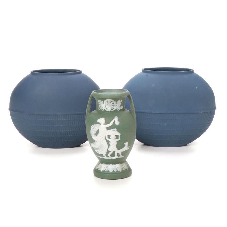 Wedgwood Blue and Green Jasperware Vases