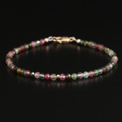 10K Tourmaline Beaded Bracelet