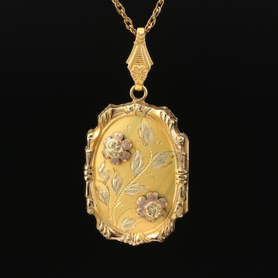 Vintage Gold Filled Floral Locket Necklace
