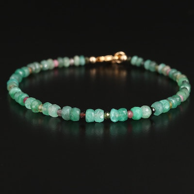 Beryl and Tourmaline Beaded Bracelet with Gold Filled Clasp