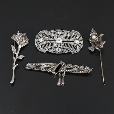 Art Deco Style Sterling Topaz, Marcasite and Black Onyx Brooches and Stick Pin