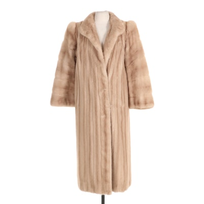 Pastel Mink Fur Full-Length Coat
