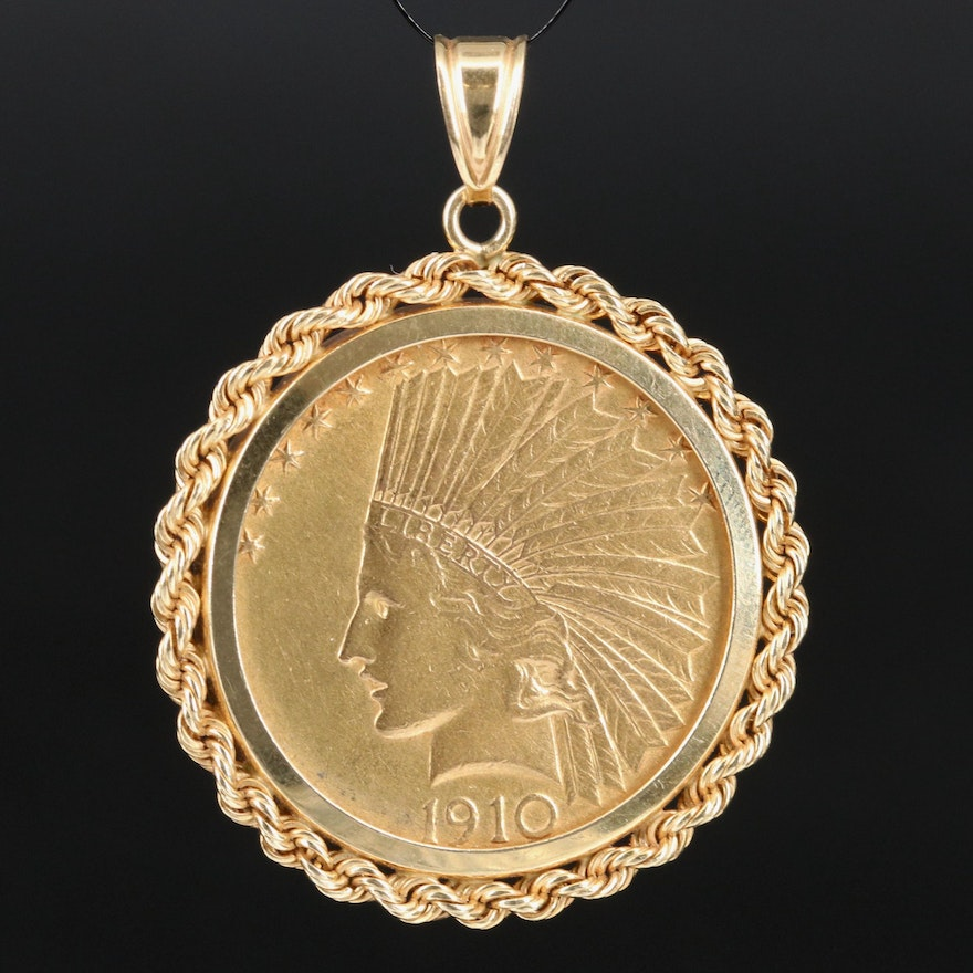 14K Coin Bezel with 22K 1910 Indian Head $10 Gold Eagle