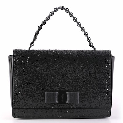 Salvatore Ferragamo Miss Vara Bow Sequin Embellished Top Handle Bag