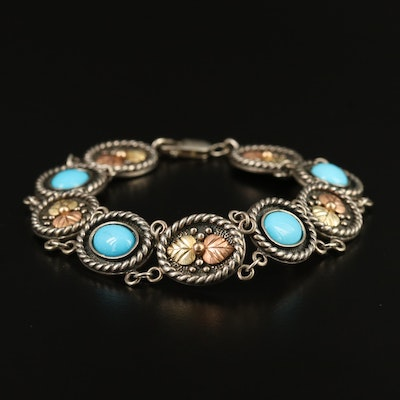 Sterling Silver Turquoise Link Bracelet with 10K Leaf Accents