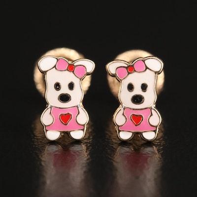 14K Enamel Cartoon Dog Earrings
