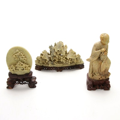 Chinese Soapstone Carvings on Wooden Stands