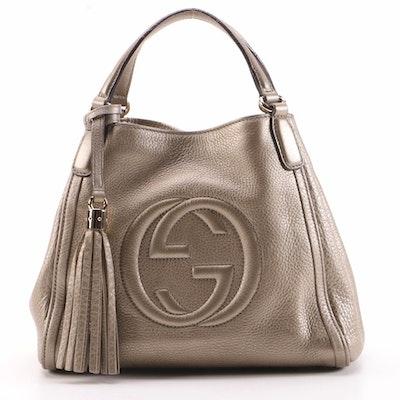 Gucci Soho Tassel Two-Way Bag in Metallic Golden Beige Grained Leather