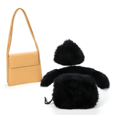 Faux Fur Hat, Collar, and Muff with Faux Ostrich Skin Shoulder Bag