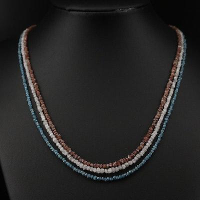14K Diamond Three Strand Multi Color Necklace