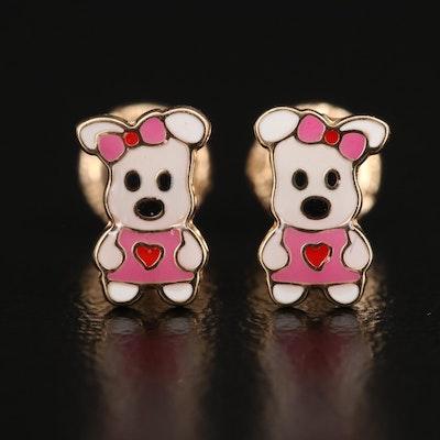 14K Enamel Cartoon Dog Stud Earrings
