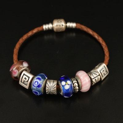 Pandora Sterling Silver and Glass Charm Bracelet