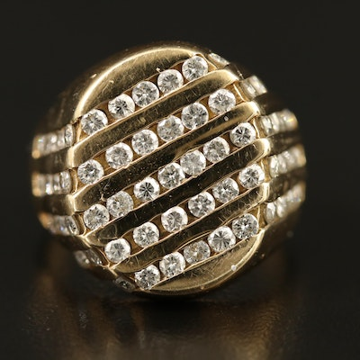 14K 2.00 CTW Five Row Diamond Channel Ring