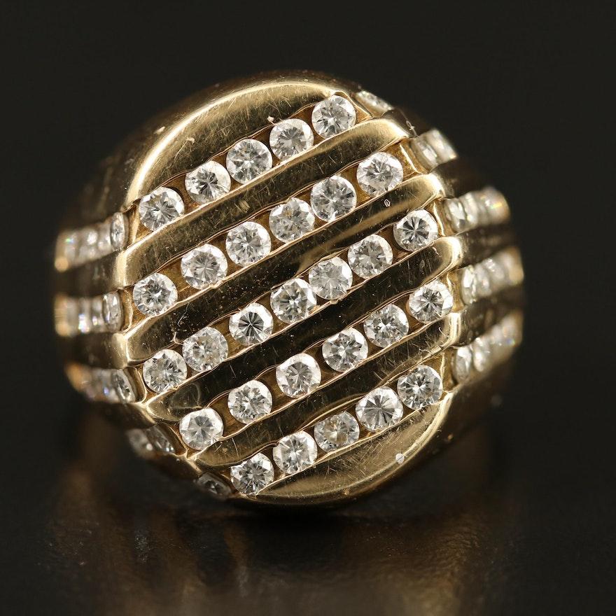 14K 2.00 CTW Five Row Diamond Channel Ring