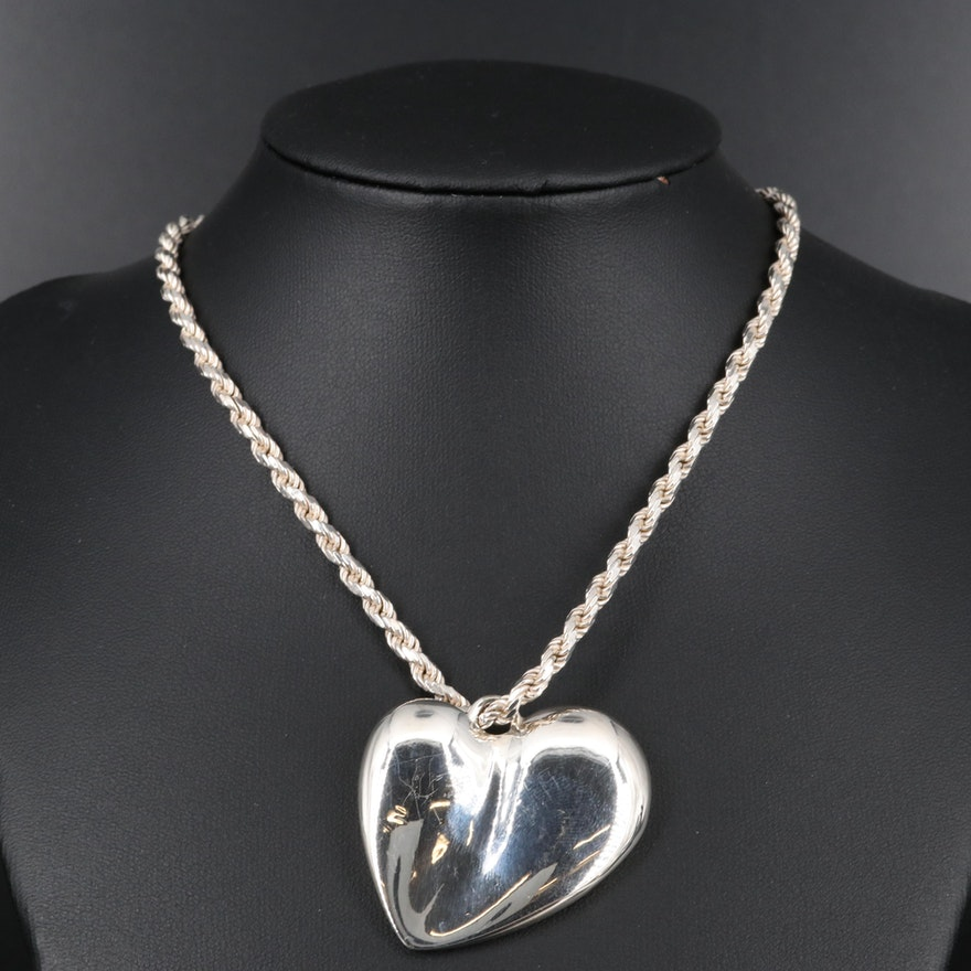 Sterling Silver Puffed Heart Pendant Necklace