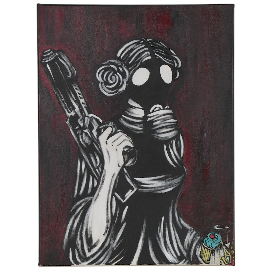 Pop Art Style Acrylic Painting of Princess Leia with Gas Mask and Cupcake