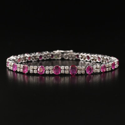 14K Ruby and 2.50 CTW Diamond Link Bracelet