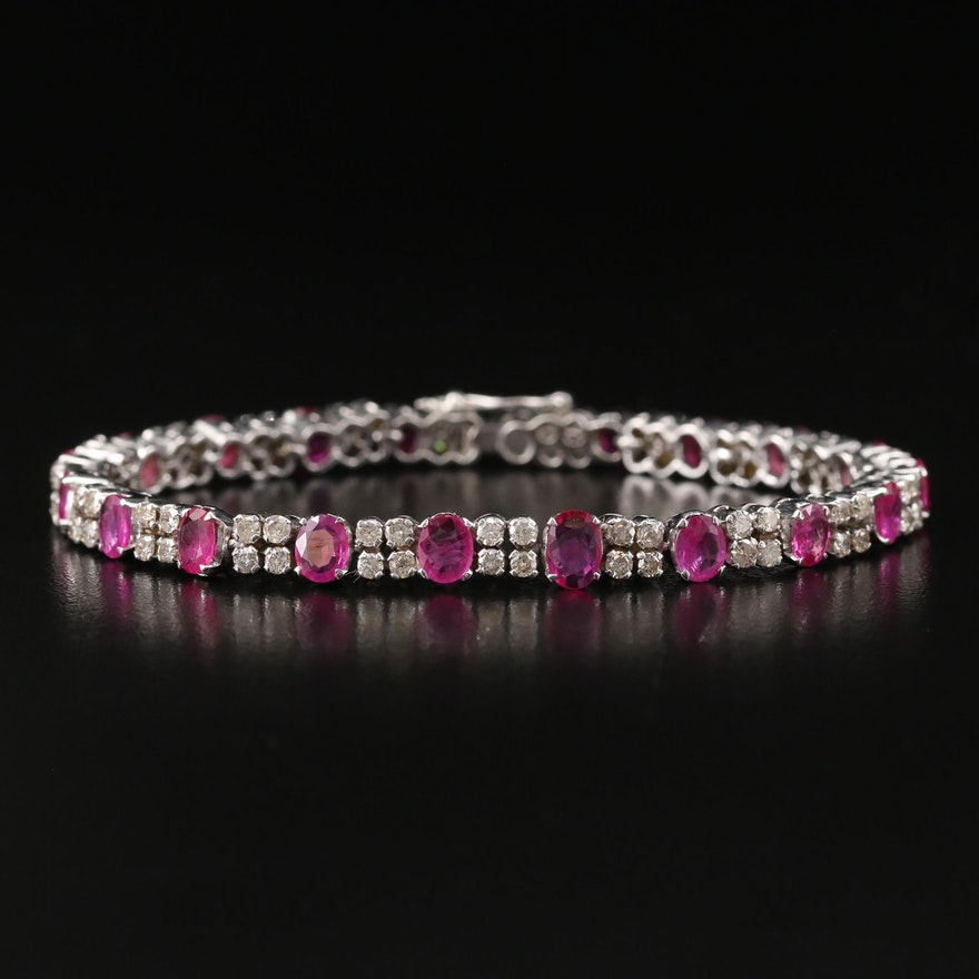 14K Ruby and 2.50 CTW Diamond Link Bracelet