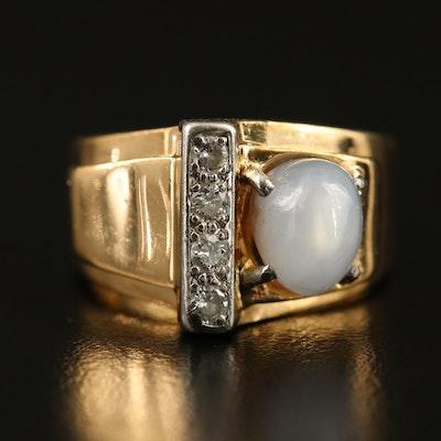 Retro 14K and Palladium Star Sapphire and Diamond Ring