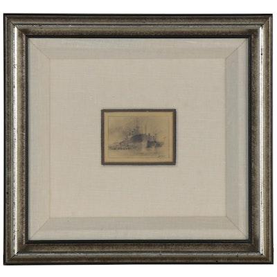 "John Kelly Graphite Drawing ""San Francisco Harbor,"" Late 20th Century"