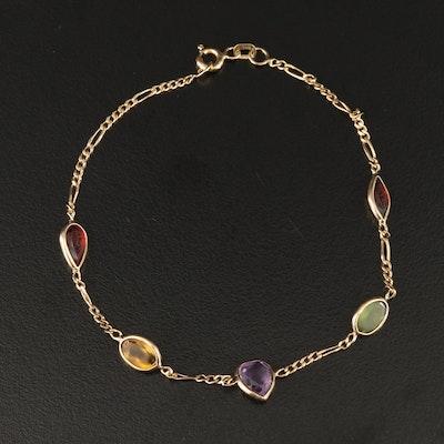 14K Infinity Link Bracelet with Citrine, Garnet, Amethyst and Peridot