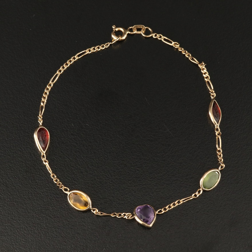 14K Infinity Link Bracelet with Citrine, Garnet, Amethyst and Peridot