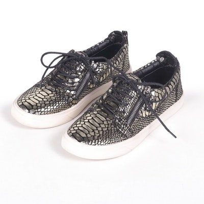 Giuseppe Zanotti Design Gold Metallic Embossed Suede Sneakers
