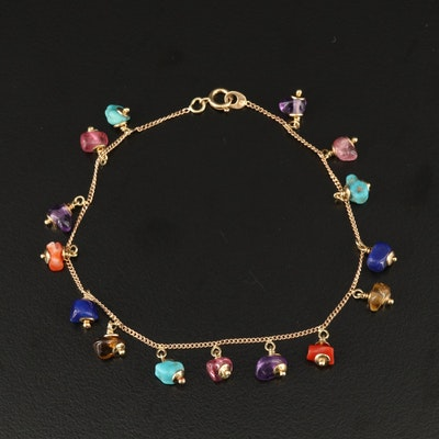 14K Tumbled Gemstone Bracelet