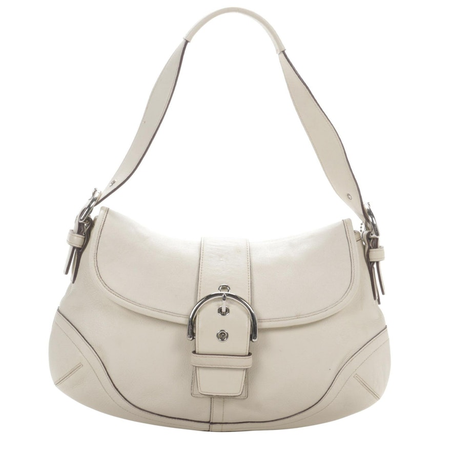Coach Soho Flap Front Shoulder Bag in Off-White Leather