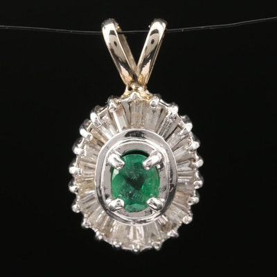14K Emerald and Diamond Pendant