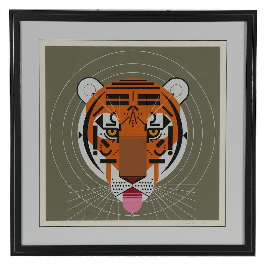 "Charley Harper Serigraph ""Cool Carnivore,"" 1979"