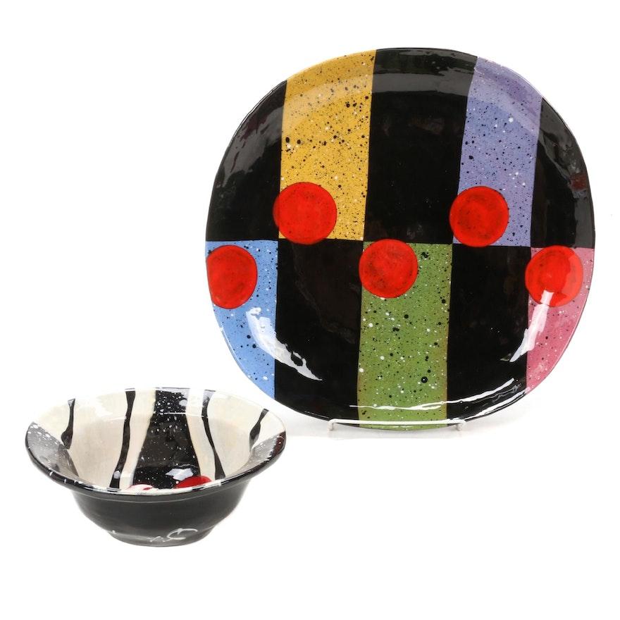 Jack Charney Post Modern Decorative Ceramic Serving Platter and Bowl