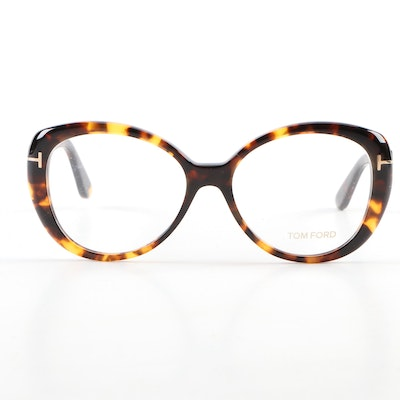 Tom Ford TF5492 Havana Butterfly Eyeglass Frames with Case and Box