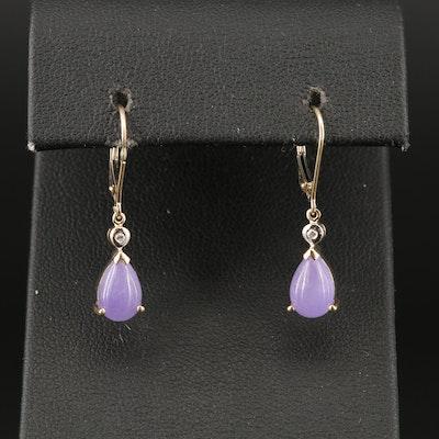 14K Jadeite and Diamond Teardrop Earrings