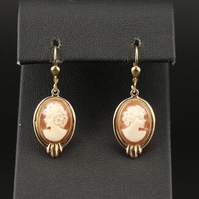Milor 14K Carved Shell Cameo Dangle Earrings