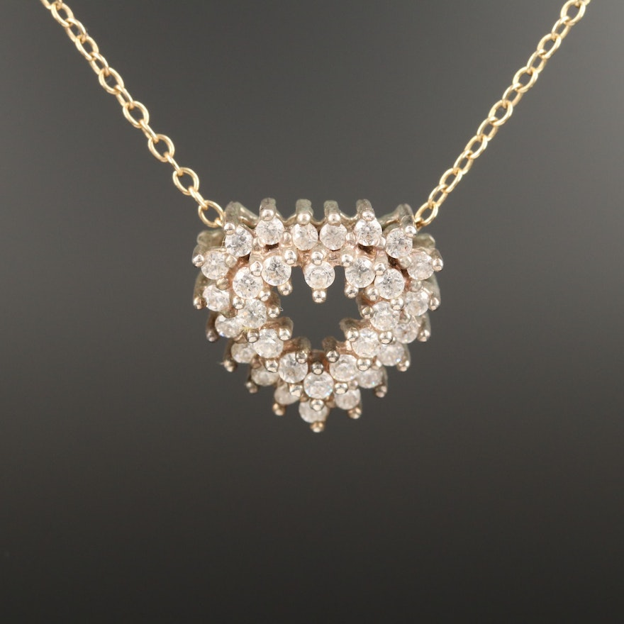 Sterling Cubic Zirconia Heart Pendant Necklace