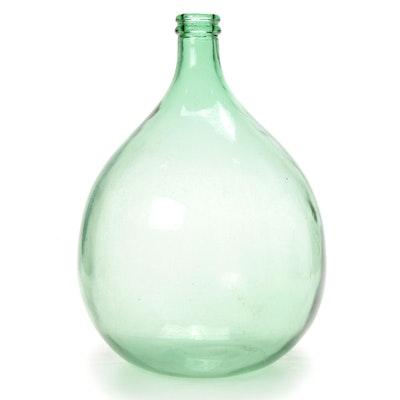 Green Glass Demi-John, Mid Century Modern