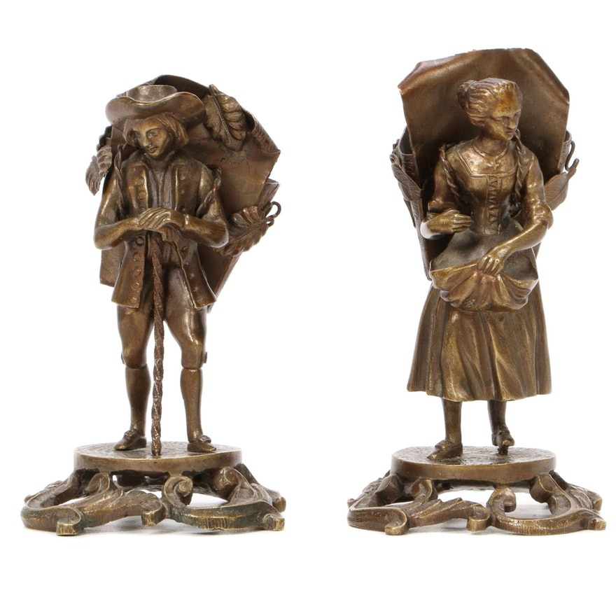 Victorian Bronze Figural Toothpick Holders, Late 19th to Early 20th Century