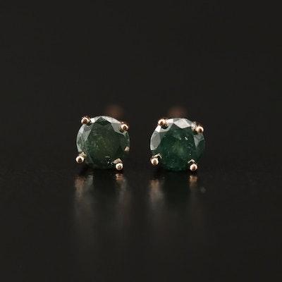 14K 0.47 CTW Green Diamond Stud Earrings