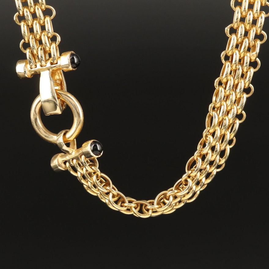 14K Black Onyx Panther Link Necklace