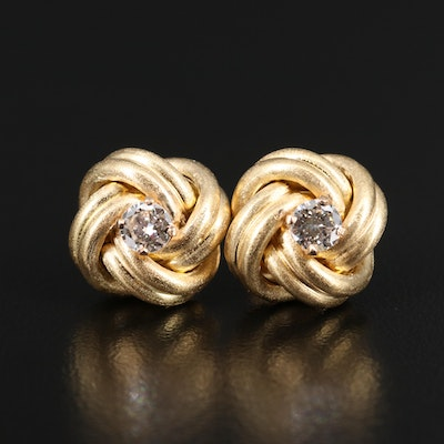 14K Diamond Knot Button Earrings