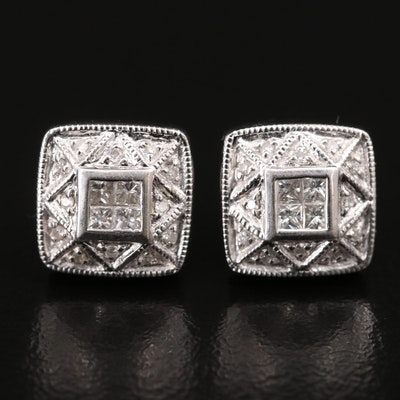 14K Diamond Tablet Stud Earrings