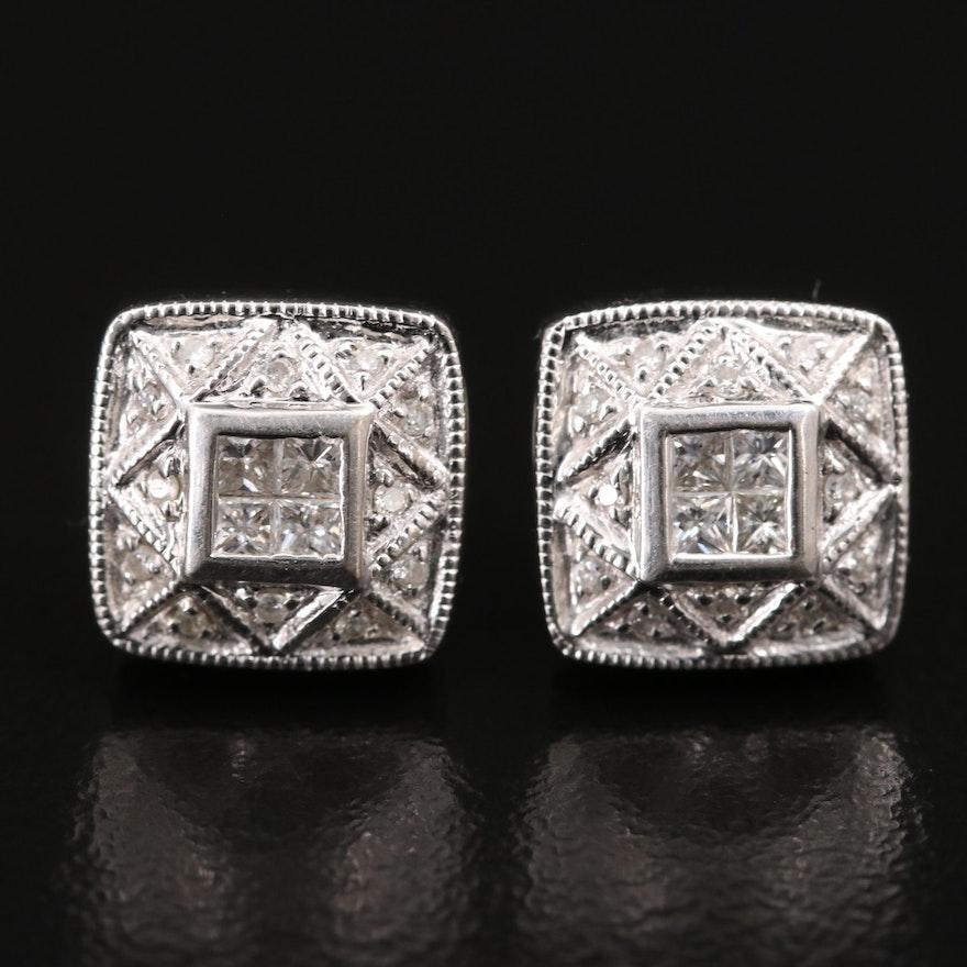 14K Diamond Tablet Stud Earrings